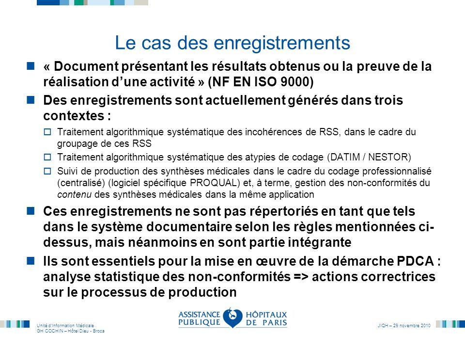 Unité dInformation Médicale GH COCHIN – Hôtel Dieu - Broca JIQH – 29 novembre 2010 Le cas des enregistrements « Document présentant les résultats obte
