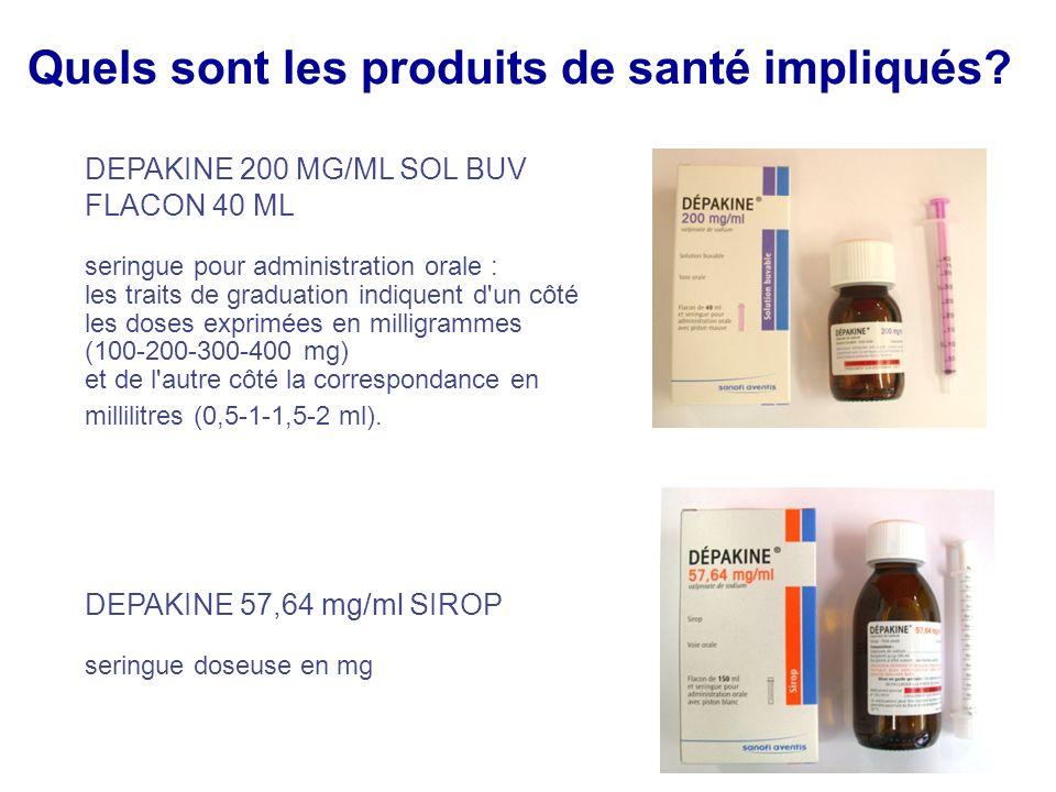 Quels sont les produits de santé impliqués? DEPAKINE 200 MG/ML SOL BUV FLACON 40 ML seringue pour administration orale : les traits de graduation indi