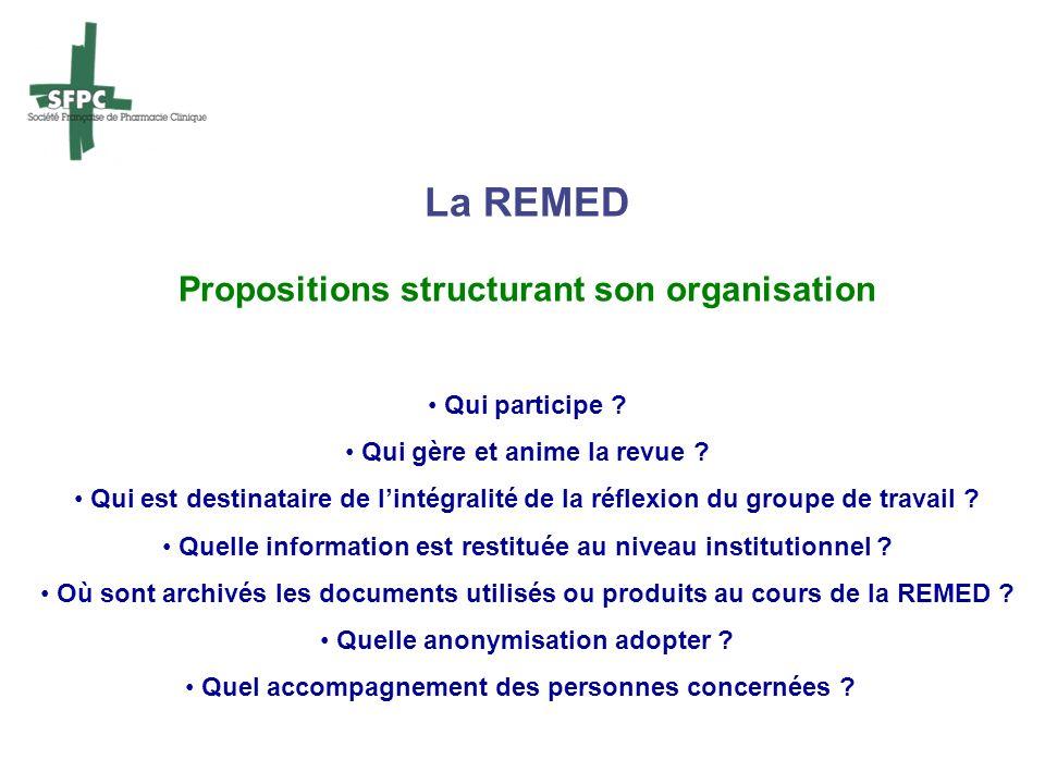 La REMED Propositions structurant son organisation Qui participe ? Qui gère et anime la revue ? Qui est destinataire de lintégralité de la réflexion d