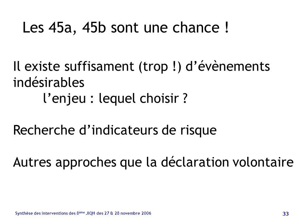 33 Synthèse des interventions des 8 ème JIQH des 27 & 28 novembre 2006 Les 45a, 45b sont une chance .