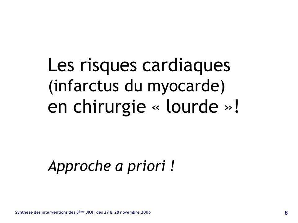 8 Synthèse des interventions des 8 ème JIQH des 27 & 28 novembre 2006 Les risques cardiaques (infarctus du myocarde) en chirurgie « lourde ».