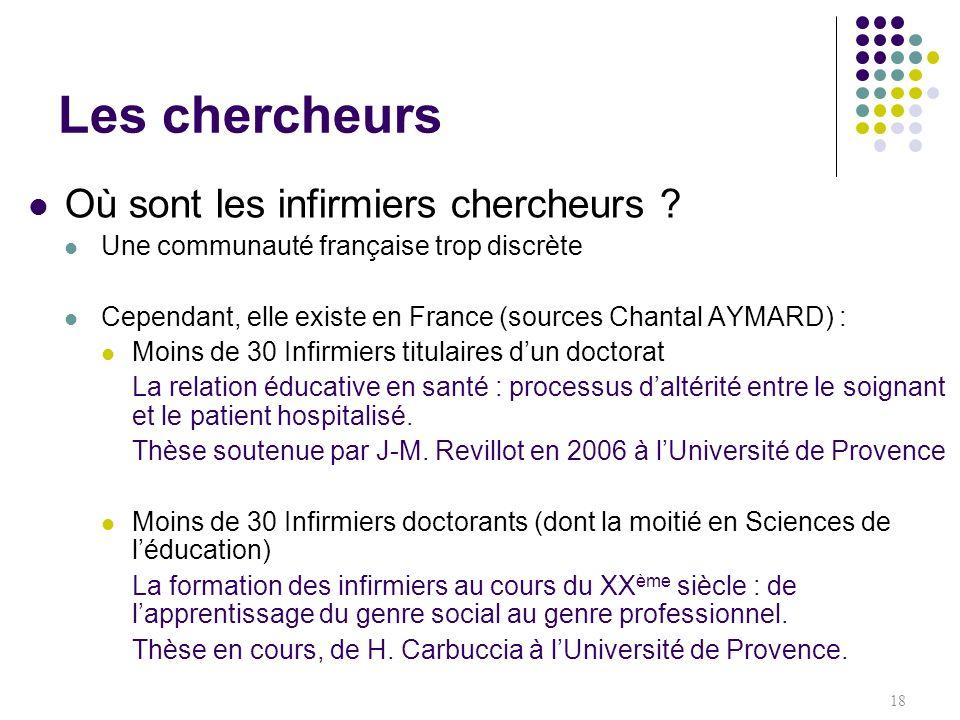 Où sont les infirmiers chercheurs ? Une communauté française trop discrète Cependant, elle existe en France (sources Chantal AYMARD) : Moins de 30 Inf