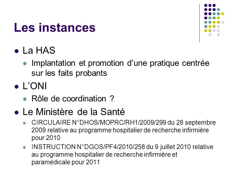 Les instances La HAS Implantation et promotion dune pratique centrée sur les faits probants LONI Rôle de coordination .