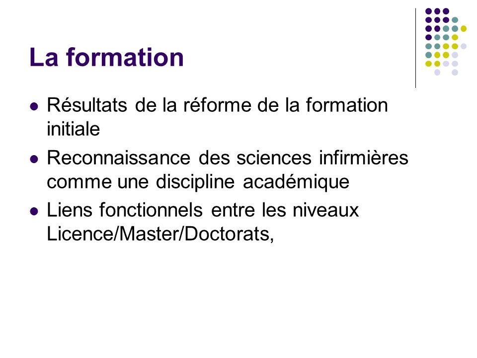 La formation Résultats de la réforme de la formation initiale Reconnaissance des sciences infirmières comme une discipline académique Liens fonctionnels entre les niveaux Licence/Master/Doctorats,