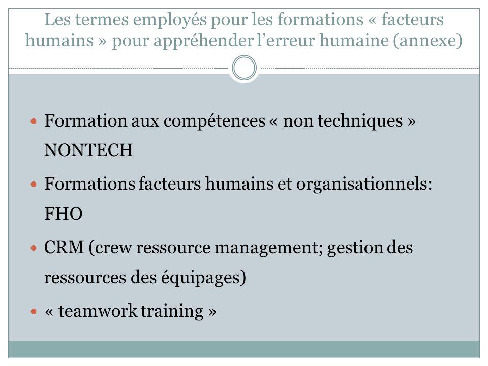 Les termes employés pour les formations « facteurs humains » pour appréhender lerreur humaine (annexe) Formation aux compétences « non techniques » NO