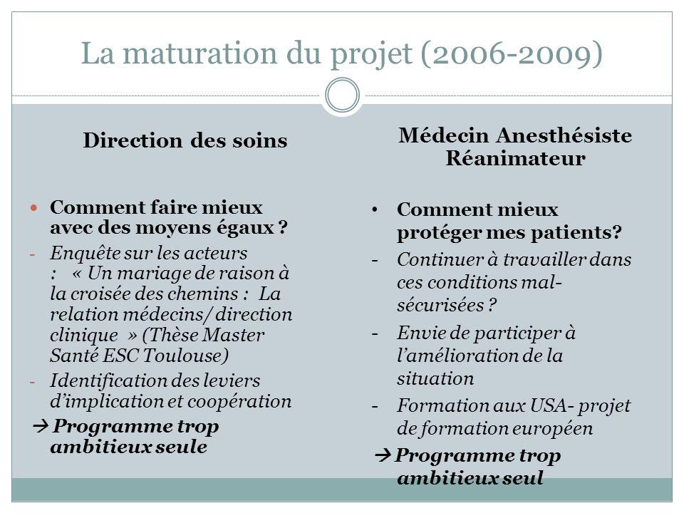 La maturation du projet (2006-2009) Comment faire mieux avec des moyens égaux ? - Enquête sur les acteurs : « Un mariage de raison à la croisée des ch