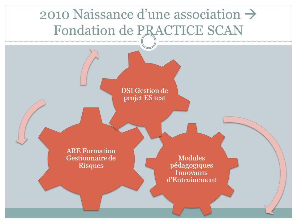 2010 Naissance dune association Fondation de PRACTICE SCAN Modules pédagogiques Innovants dEntrainement ARE Formation Gestionnaire de Risques DSI Gest