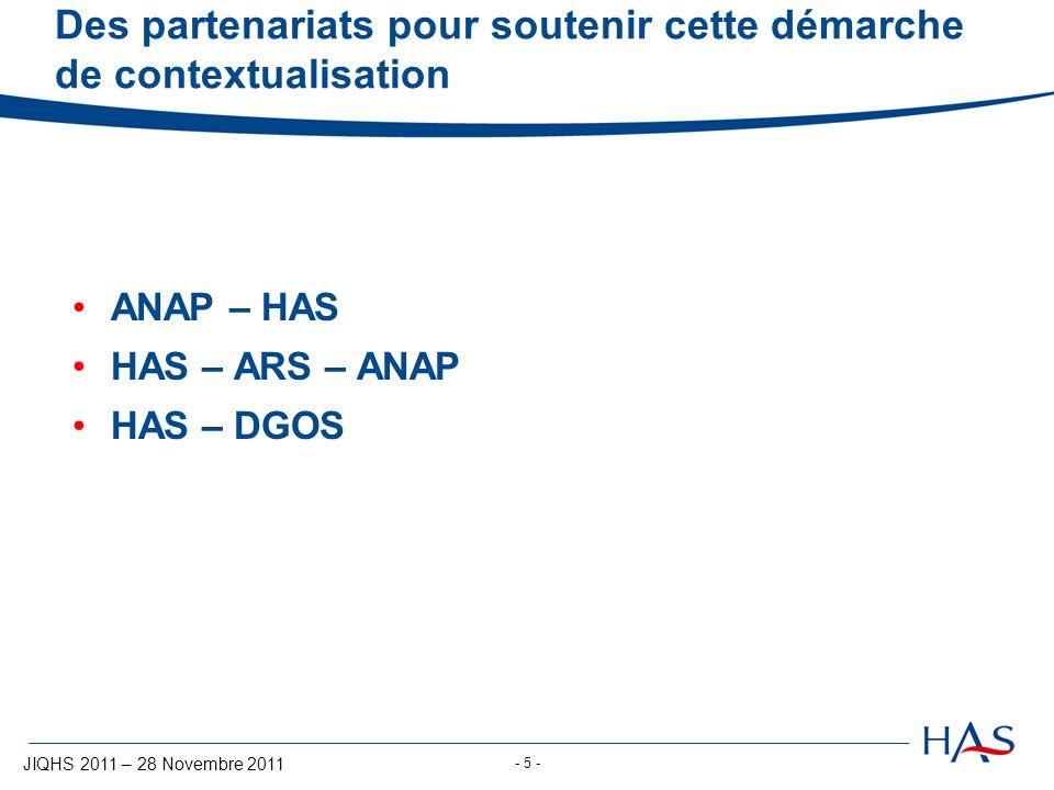 JIQHS 2011 – 28 Novembre 2011 - 5 - Des partenariats pour soutenir cette démarche de contextualisation ANAP – HAS HAS – ARS – ANAP HAS – DGOS