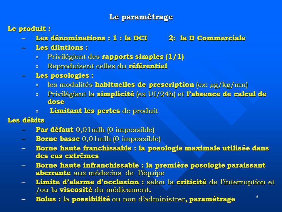 6 Le paramétrage Le produit : – Les dénominations : 1 : la DCI 2: la D Commerciale – Les dilutions : »Privilégient des rapports simples (1/1) »Reprodu