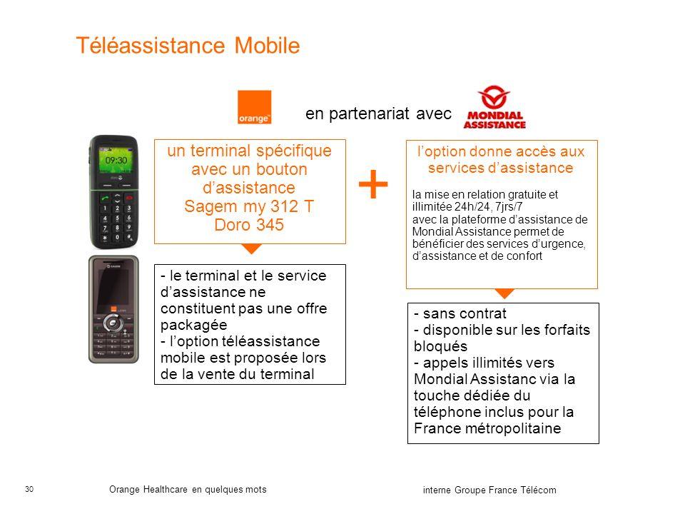 30 interne Groupe France Télécom Orange Healthcare en quelques mots Téléassistance Mobile un terminal spécifique avec un bouton dassistance Sagem my 3