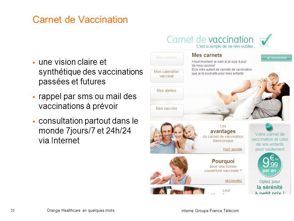 33 interne Groupe France Télécom Orange Healthcare en quelques mots Carnet de Vaccination une vision claire et synthétique des vaccinations passées et futures rappel par sms ou mail des vaccinations à prévoir consultation partout dans le monde 7jours/7 et 24h/24 via Internet