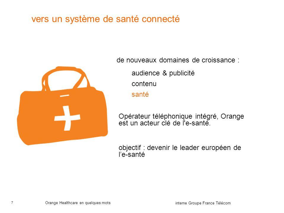 7 interne Groupe France Télécom Orange Healthcare en quelques mots vers un système de santé connecté de nouveaux domaines de croissance : audience & publicité contenu santé Opérateur téléphonique intégré, Orange est un acteur clé de l e-santé.