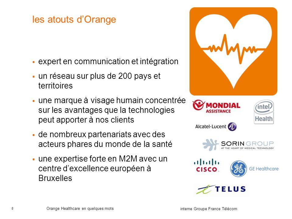 8 interne Groupe France Télécom Orange Healthcare en quelques mots les atouts dOrange expert en communication et intégration un réseau sur plus de 200 pays et territoires une marque à visage humain concentrée sur les avantages que la technologies peut apporter à nos clients de nombreux partenariats avec des acteurs phares du monde de la santé une expertise forte en M2M avec un centre dexcellence européen à Bruxelles