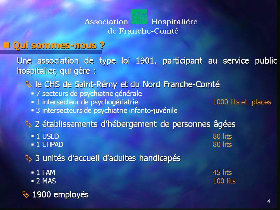 4 AssociationHospitalière de Franche-Comté Qui sommes-nous ? Qui sommes-nous ? Une association de type loi 1901, participant au service public hospita