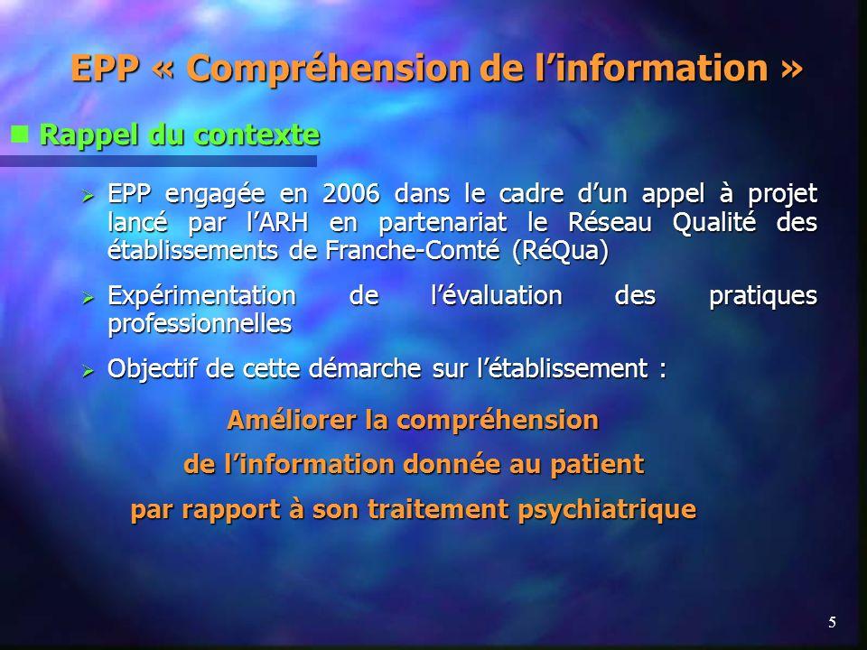 5 EPP « Compréhension de linformation » Rappel du contexte EPP engagée en 2006 dans le cadre dun appel à projet lancé par lARH en partenariat le Résea