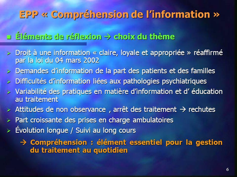 6 EPP « Compréhension de linformation » Éléments de réflexion choix du thème Éléments de réflexion choix du thème Droit à une information « claire, lo