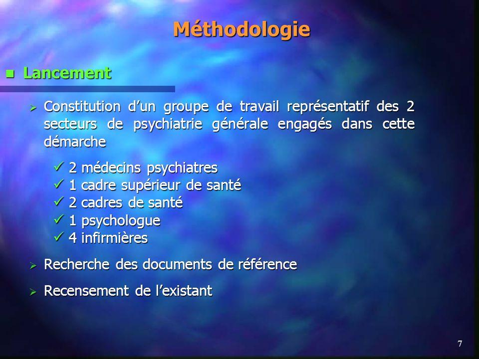7Méthodologie Lancement Lancement Constitution dun groupe de travail représentatif des 2 secteurs de psychiatrie générale engagés dans cette démarche