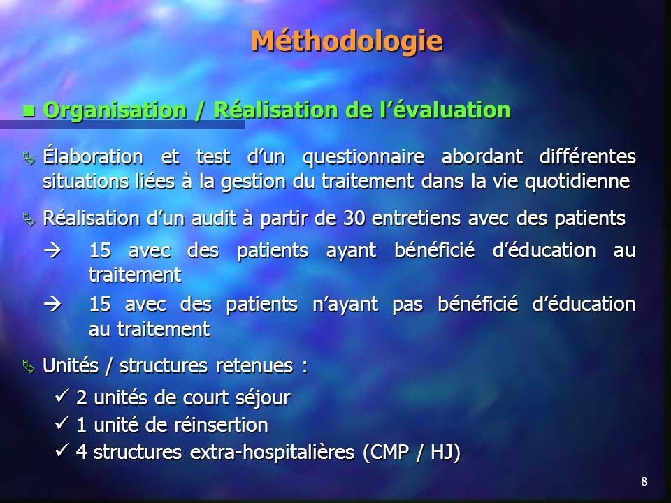 8 Méthodologie Organisation / Réalisation de lévaluation Organisation / Réalisation de lévaluation Élaboration et test dun questionnaire abordant diff