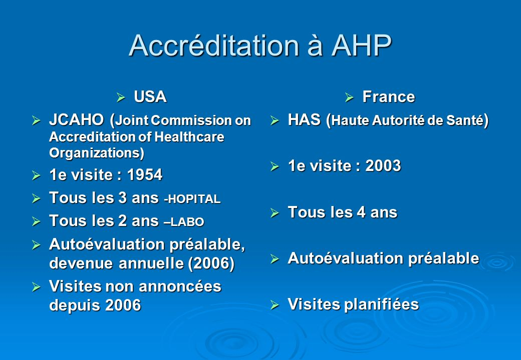 Accréditation à AHP USA USA JCAHO ( Joint Commission on Accreditation of Healthcare Organizations) JCAHO ( Joint Commission on Accreditation of Health