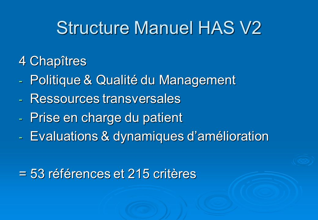 Structure Manuel HAS V2 4 Chapîtres - Politique & Qualité du Management - Ressources transversales - Prise en charge du patient - Evaluations & dynami