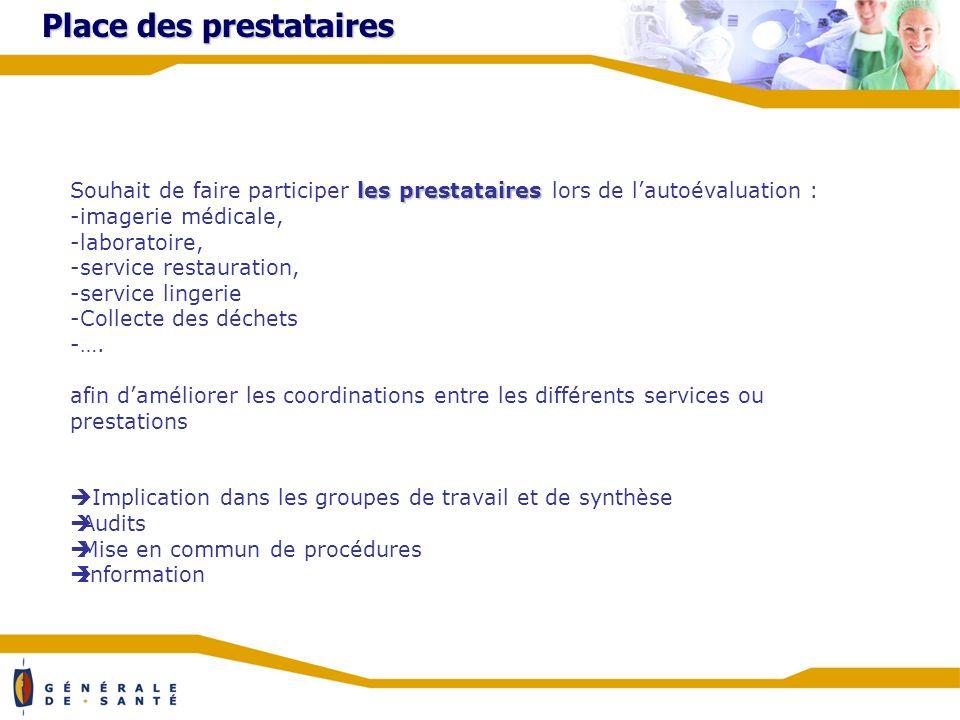 Place des prestataires les prestataires Souhait de faire participer les prestataires lors de lautoévaluation : -imagerie médicale, -laboratoire, -service restauration, -service lingerie -Collecte des déchets -….