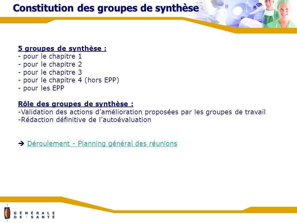 Constitution des groupes de synthèse 5 groupes de synthèse : - pour le chapitre 1 - pour le chapitre 2 - pour le chapitre 3 - pour le chapitre 4 (hors EPP) - pour les EPP Rôle des groupes de synthèse : -Validation des actions damélioration proposées par les groupes de travail -Rédaction définitive de lautoévaluation Déroulement - Planning général des réunions