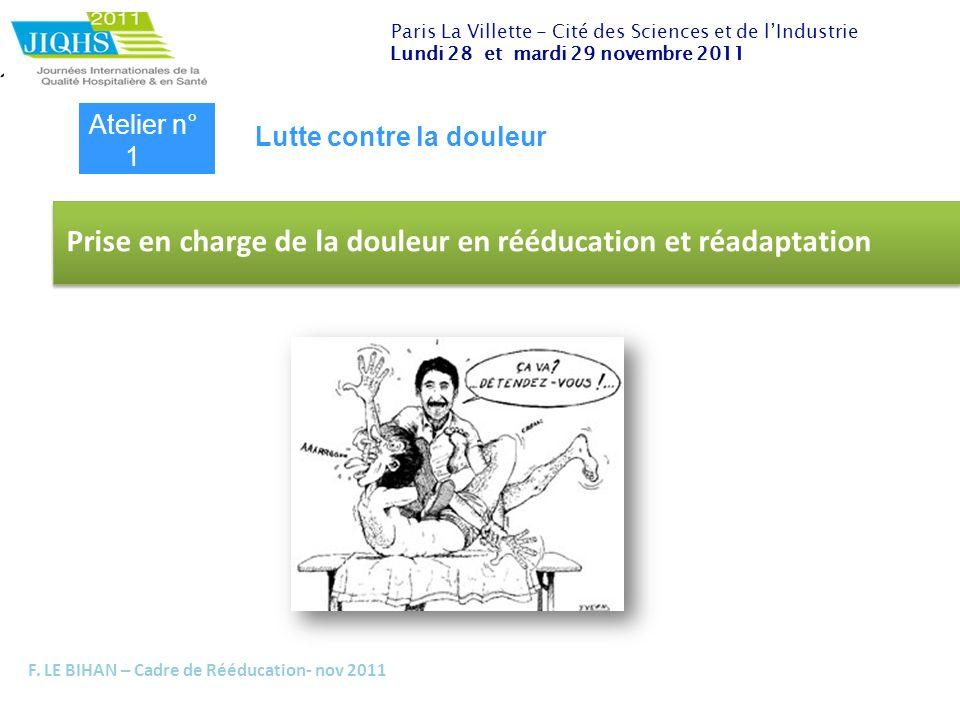 F. LE BIHAN – Cadre de Rééducation- nov 2011 Prise en charge de la douleur en rééducation et réadaptation Paris La Villette - Cité des Sciences et de
