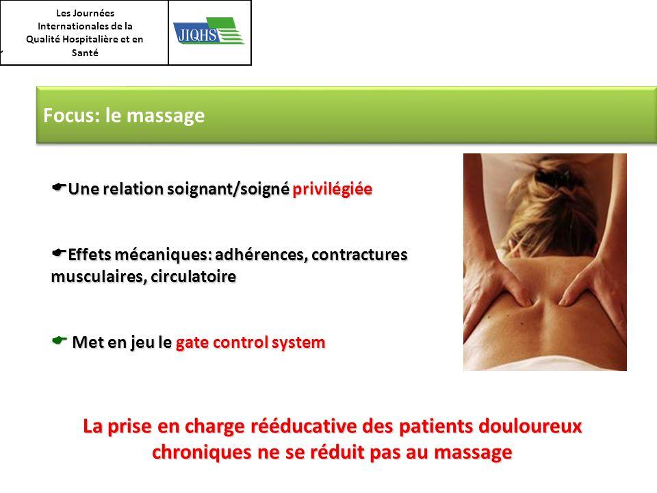 Les Journées Internationales de la Qualité Hospitalière et en Santé Focus: le massage Une relation soignant/soigné privilégiée Une relation soignant/s