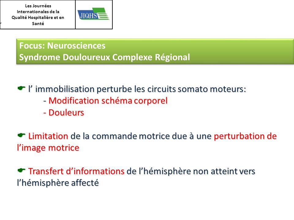 Les Journées Internationales de la Qualité Hospitalière et en Santé Focus: Neurosciences Syndrome Douloureux Complexe Régional Focus: Neurosciences Sy