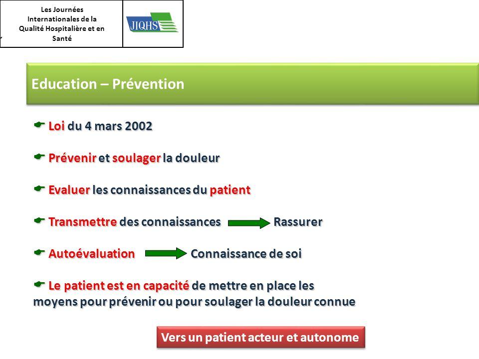 Les Journées Internationales de la Qualité Hospitalière et en Santé Education – Prévention Loi du 4 mars 2002 Loi du 4 mars 2002 Prévenir et soulager