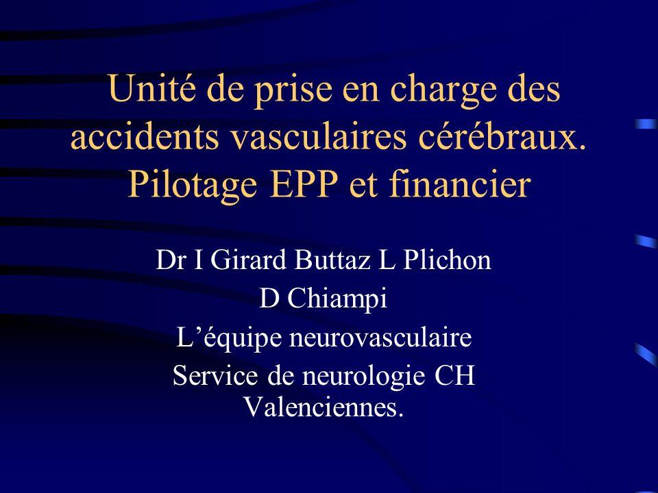 Unité de prise en charge des accidents vasculaires cérébraux. Pilotage EPP et financier Dr I Girard Buttaz L Plichon D Chiampi Léquipe neurovasculaire