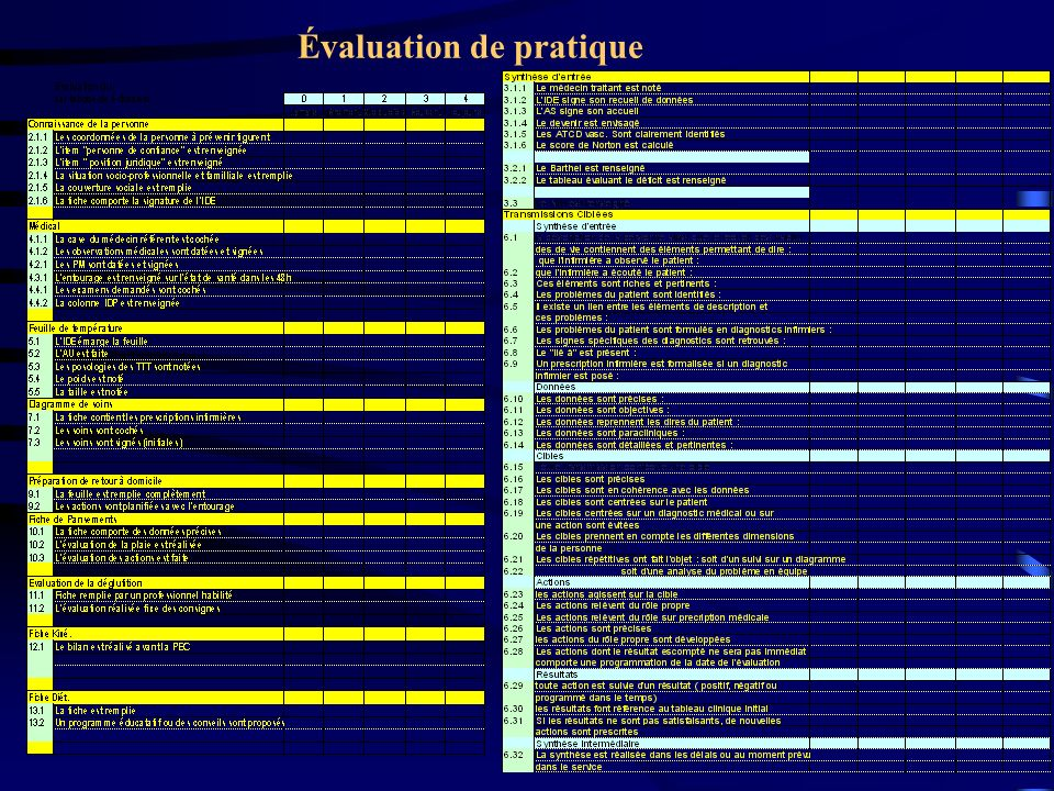 Évaluation de pratique