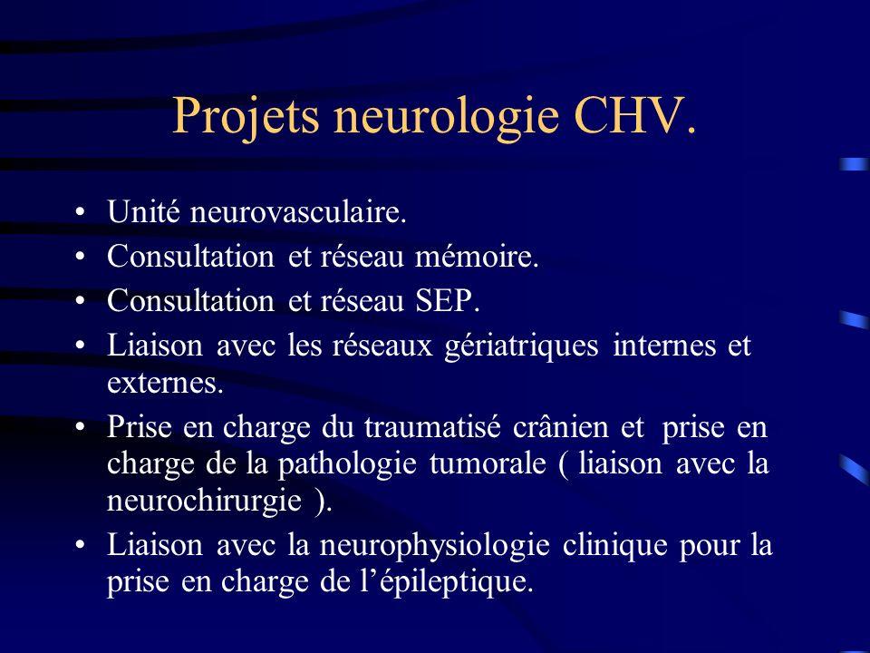 Projets neurologie CHV. Unité neurovasculaire. Consultation et réseau mémoire. Consultation et réseau SEP. Liaison avec les réseaux gériatriques inter