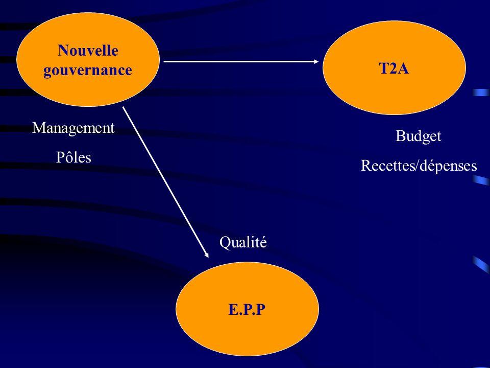 Nouvelle gouvernance E.P.P T2A Management Pôles Budget Recettes/dépenses Qualité