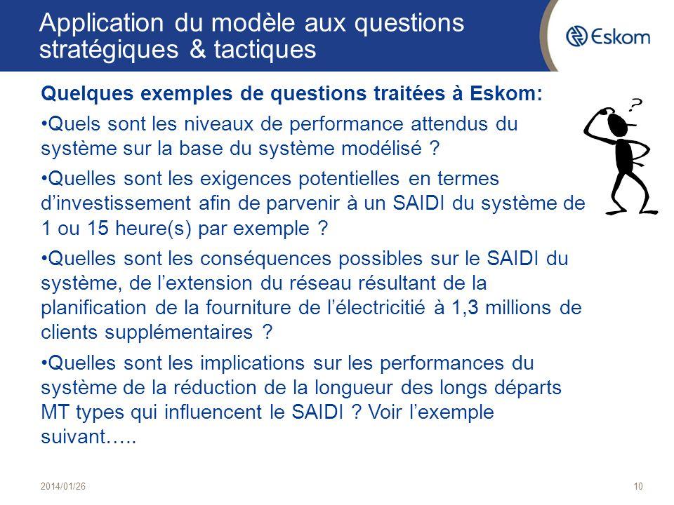 10 Application du modèle aux questions stratégiques & tactiques Quelques exemples de questions traitées à Eskom: Quels sont les niveaux de performance