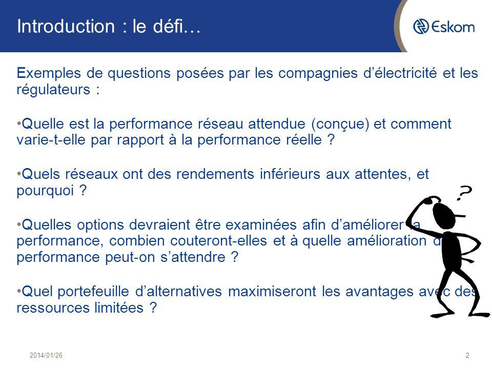 Introduction : le défi… Exemples de questions posées par les compagnies délectricité et les régulateurs : Quelle est la performance réseau attendue (c