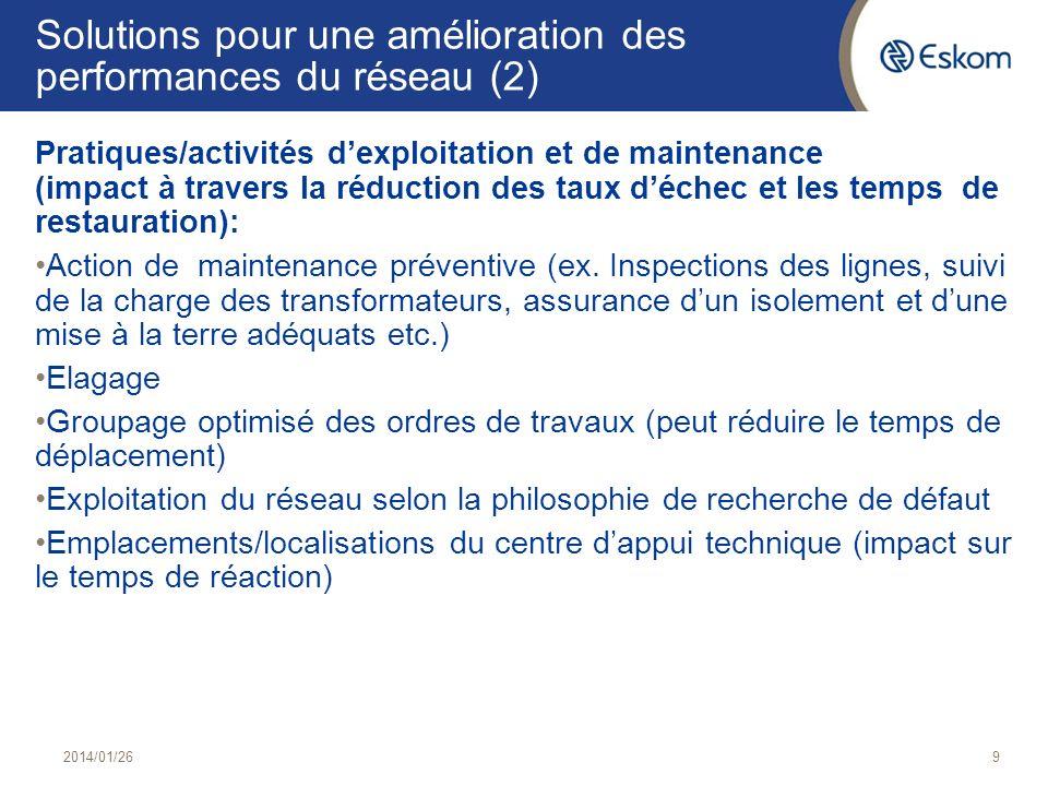 Solutions pour une amélioration des performances du réseau (2) Pratiques/activités dexploitation et de maintenance (impact à travers la réduction des