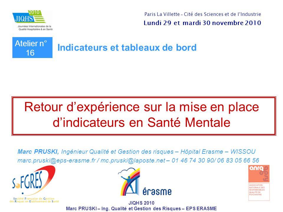 JIQHS 2010 Marc PRUSKI – Ing. Qualité et Gestion des Risques – EPS ERASME Retour dexpérience sur la mise en place dindicateurs en Santé Mentale Marc P