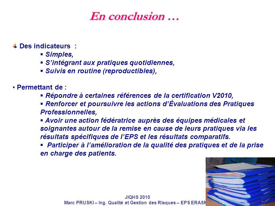 JIQHS 2010 Marc PRUSKI – Ing. Qualité et Gestion des Risques – EPS ERASME Des indicateurs : Simples, Sintégrant aux pratiques quotidiennes, Suivis en