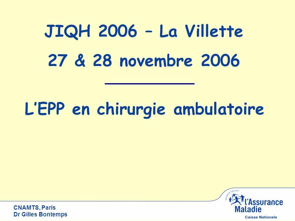 CNAMTS, Paris Dr Gilles Bontemps LEPP en chirurgie ambulatoire JIQH 2006 – La Villette 27 & 28 novembre 2006