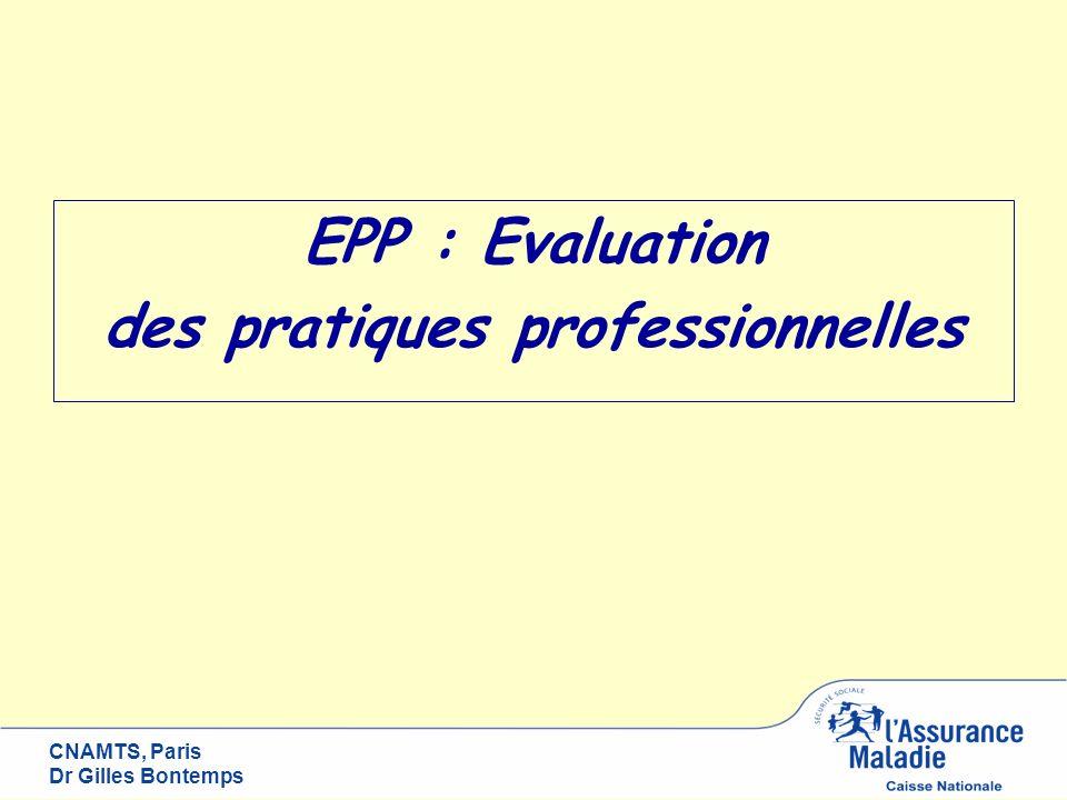 CNAMTS, Paris Dr Gilles Bontemps EPP : Evaluation des politiques professionnelles ?