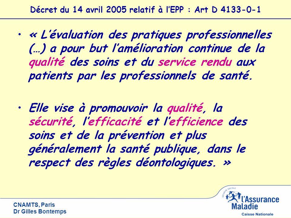 CNAMTS, Paris Dr Gilles Bontemps Décret du 14 avril 2005 relatif à lEPP : Art D 4133-0-1 « Lévaluation des pratiques professionnelles (…) a pour but l