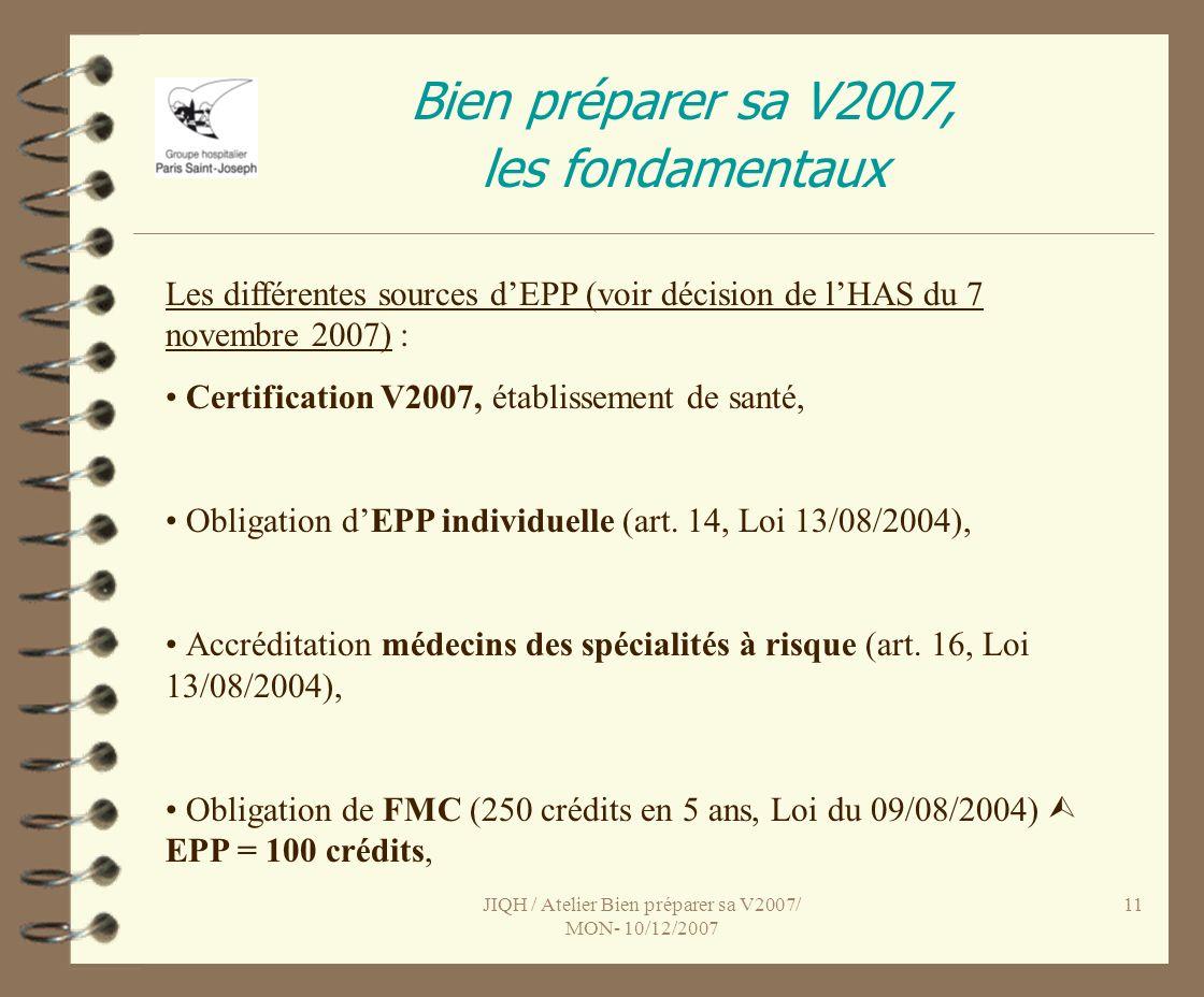 JIQH / Atelier Bien préparer sa V2007/ MON- 10/12/2007 11 Bien préparer sa V2007, les fondamentaux Les différentes sources dEPP (voir décision de lHAS du 7 novembre 2007) : Certification V2007, établissement de santé, Obligation dEPP individuelle (art.