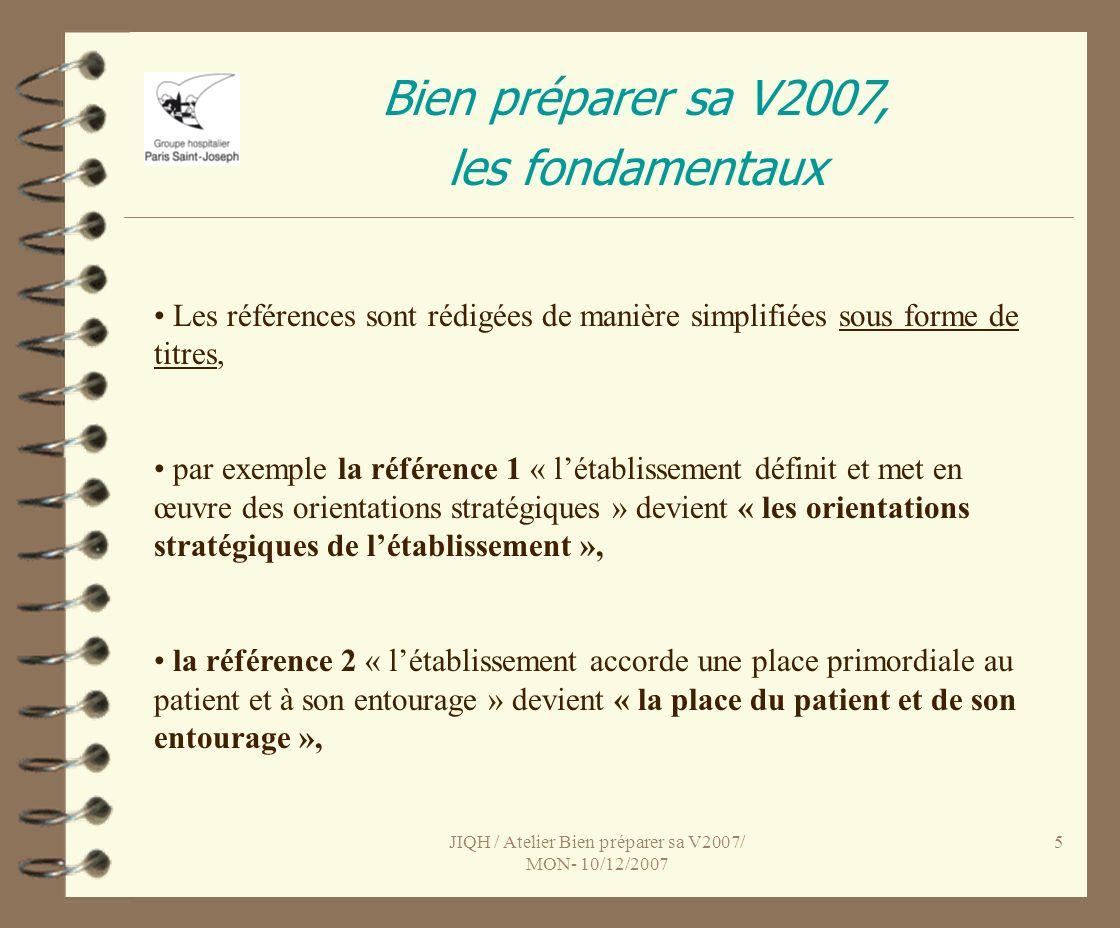 JIQH / Atelier Bien préparer sa V2007/ MON- 10/12/2007 5 Bien préparer sa V2007, les fondamentaux Les références sont rédigées de manière simplifiées sous forme de titres, par exemple la référence 1 « létablissement définit et met en œuvre des orientations stratégiques » devient « les orientations stratégiques de létablissement », la référence 2 « létablissement accorde une place primordiale au patient et à son entourage » devient « la place du patient et de son entourage »,