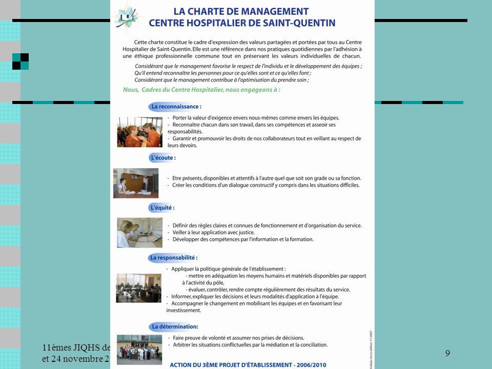 11èmes JIQHS des 23 et 24 novembre 2009 Centre Hospitalier de Saint-Quentin9