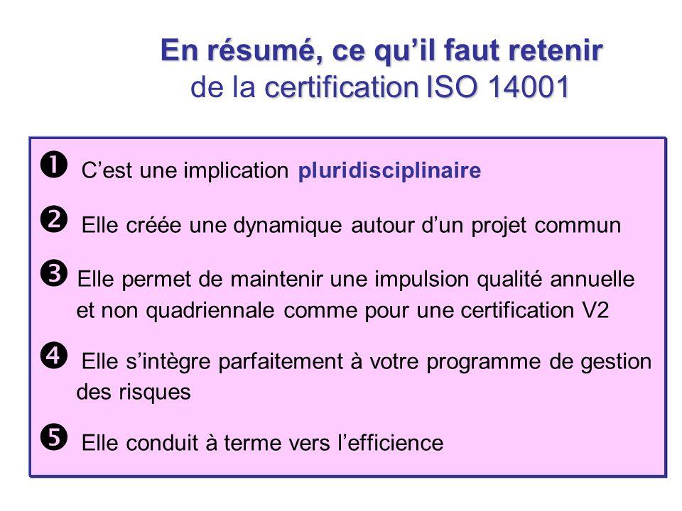 En résumé, ce quil faut retenir certification ISO 14001 En résumé, ce quil faut retenir de la certification ISO 14001 Cest une implication pluridiscip