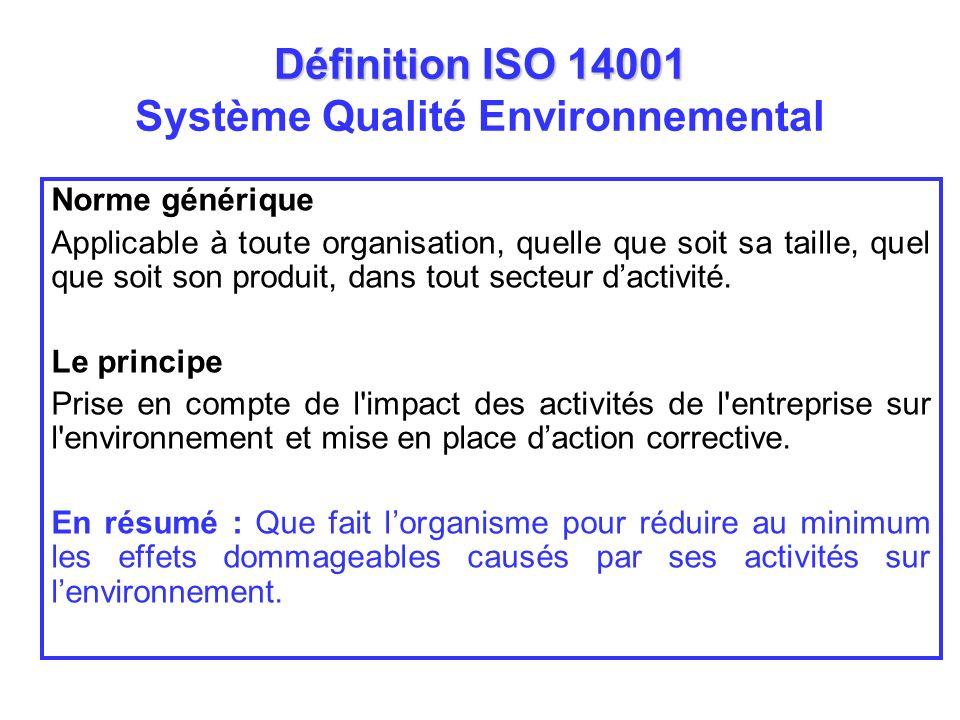 Définition ISO 14001 Définition ISO 14001 Système Qualité Environnemental Norme générique Applicable à toute organisation, quelle que soit sa taille,