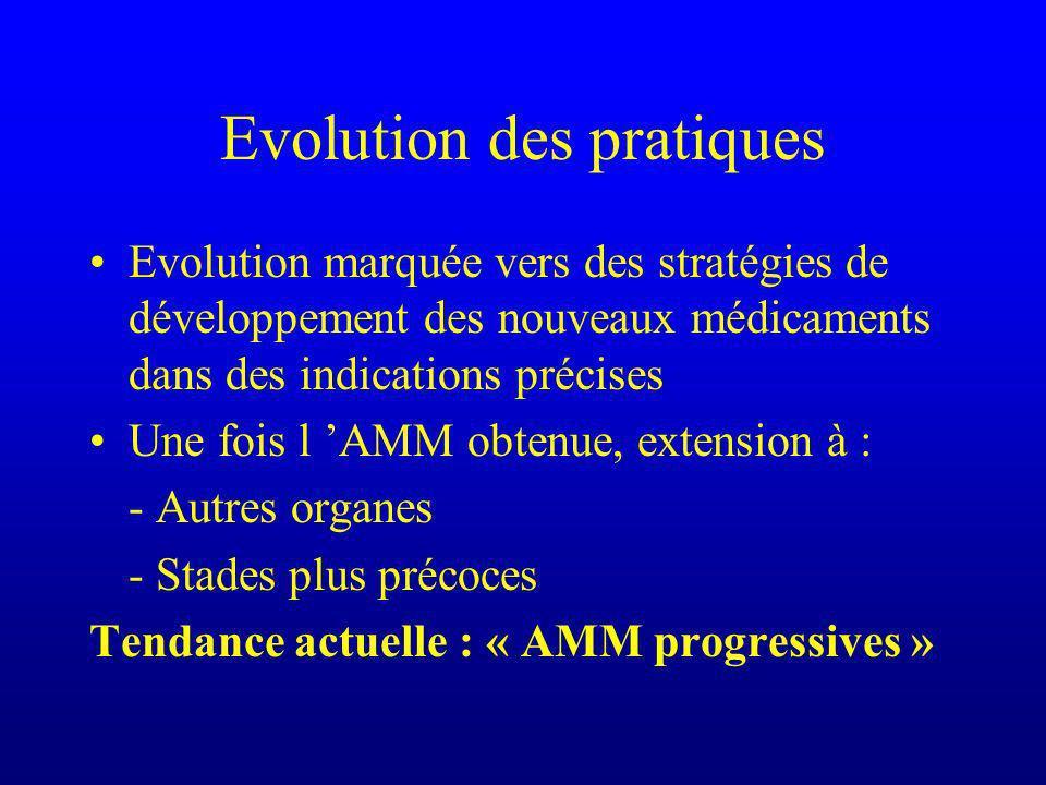 Evolution des pratiques Evolution marquée vers des stratégies de développement des nouveaux médicaments dans des indications précises Une fois l AMM obtenue, extension à : - Autres organes - Stades plus précoces Tendance actuelle : « AMM progressives »