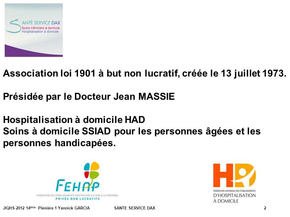 JIQHS 2012 14 ème Plénière 1 Yannick GARCIA SANTE SERVICE DAX2 Association loi 1901 à but non lucratif, créée le 13 juillet 1973. Présidée par le Doct