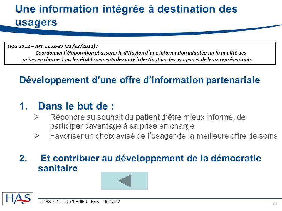 Une information intégrée à destination des usagers Développement dune offre dinformation partenariale 1.Dans le but de : Répondre au souhait du patien